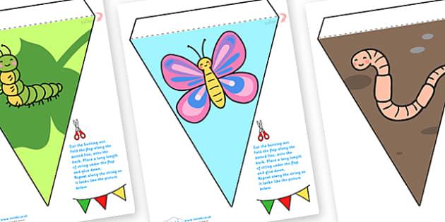 Minibeast Bunting - minibeasts, minibeast display bunting, insects display bunting, insects bunting, minibeast display, minibeast resources, bunting, EYFS