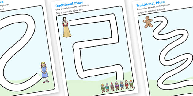 Traditional Tales Pencil Control Path Worksheets - traditional tales, pencil control, pencil control worksheets, fine motor skills, fine motor worksheets
