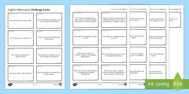 English Reformation Challenge Cards - English Reformation, Henry VIII, Edward VI, Pope, annulment, Catherine of Aragon, Anne Boleyn, relig