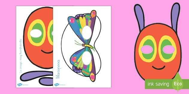 La oruga muy hambrienta Máscaras de juego de rol - comer, comida, proyecto, cuentos infantiles, ciclo de vida, ciclo vital, mariposa, bichos, juego sim