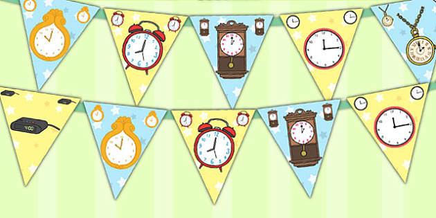 Clock Display Bunting - clock, display, bunting, display bunting