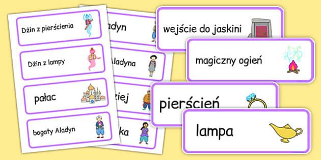 Karty ze słownictwem Aladyn po polsku - bajki, basnie