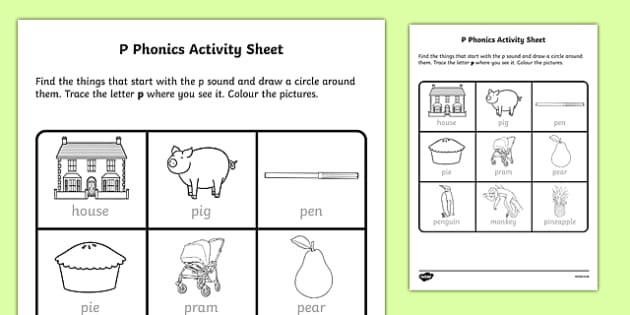 p Phonics Activity Sheet-Irish, worksheet