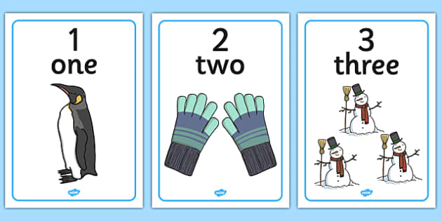 Winter Themed Number Posters with Words & Numbers (1-10) - numeracy. numbers, numbers to 10, number names, Winter, numeracy, counting, number poster, number words, display banner, polar, arctic, display, winter words, Word card, flashcard, snowflake,