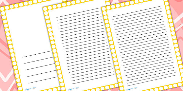 Yellow With White Spots Page Borders - writing templates, border