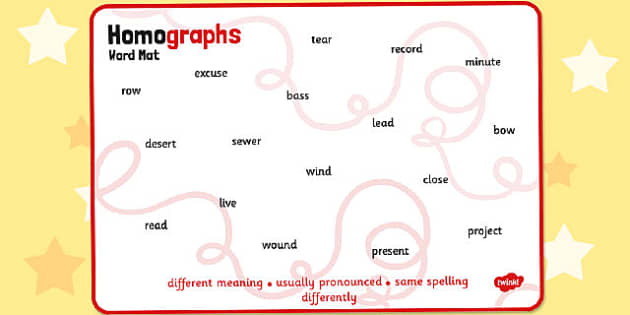 Homographs Word Mat - homographs, word mat, word, mat, words