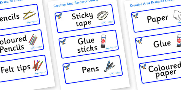 Starling Themed Editable Creative Area Resource Labels - Themed creative resource labels, Label template, Resource Label, Name Labels, Editable Labels, Drawer Labels, KS1 Labels, Foundation Labels, Foundation Stage Labels