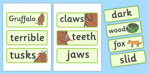 The Gruffalo Word Cards - The Gruffalo, resources, mouse, fox, owl, snake, Gruffalo, fantasy, rhyme, story, story book, story book resources, story sequencing, story resources, Word cards, Word Card, flashcard, flashcards,
