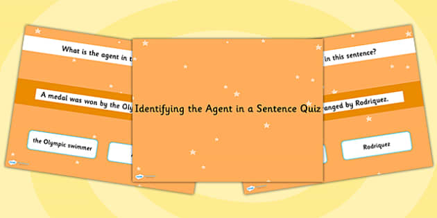 Identifying an Agent in a Sentence SPaG Grammar PowerPoint Quiz