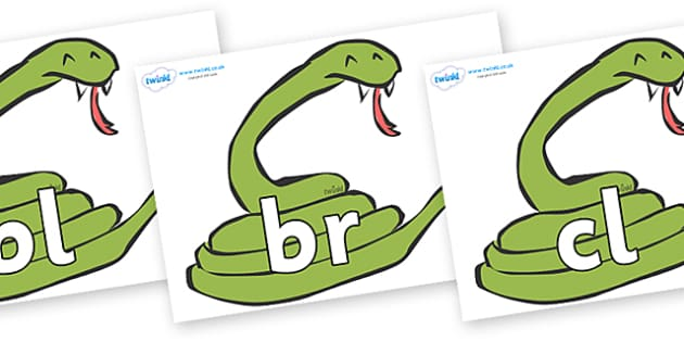 Initial Letter Blends on Snakes - Initial Letters, initial letter, letter blend, letter blends, consonant, consonants, digraph, trigraph, literacy, alphabet, letters, foundation stage literacy