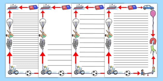 Forces And Motion Page Borders - forces and motion, motion, forces, physics, page border, border, writing template, writing aid, writing, different forces, different, KS2, physics resources