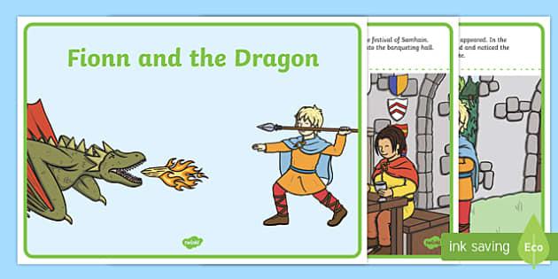 Fionn and the Dragon Sequencing Cards 1 per A4 - Irish history, Irish story, Irish myth, Irish legends, Fionn and the Dragon, sequencing cards