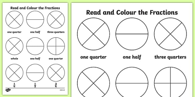 Year 1 Read and Colour a Fraction Activity Sheet - fractions, colours, reading, worksheet
