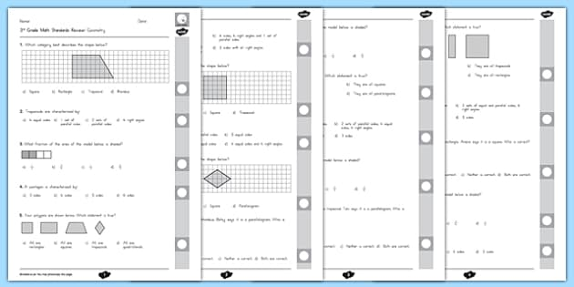 Common Core 3rd Grade G Standard Review Pack - US Resources, Grade 3 G, End of Grade, Review