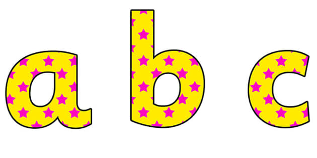 Yellow and Pink Stars Lowercase Display Lettering - yellow and pink stars, stars display lettering, lowercase display lettering, display alphabet
