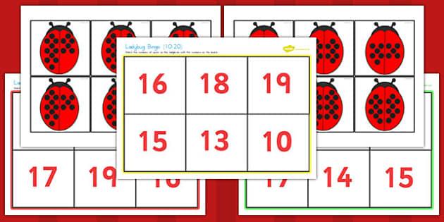 Ladybug Bingo 10-20 - ladybug, bingo, 10-20, game, activity