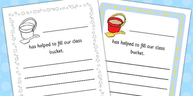 Bucket Fillers Editable Note - bucket, fillers, editable, note