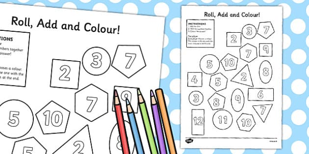 2D Shapes Roll and Colour Dice Addition Activity - 2D, shapes