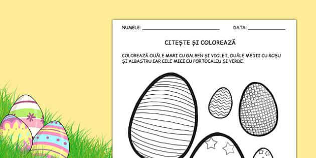 Oua de Paste, Citeste si coloreaza - codul numerelor, cod, numar , worksheet