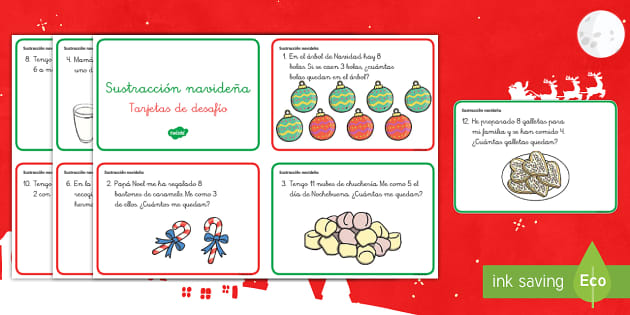 La sustracción navideña Tarjetas de desafío de matemáticas de atención a la diversidad-Spanish - restas, restar, sustracción, navidad, navideño,Spanish - restas, restar, sustracción, navidad, navideño,Spanish