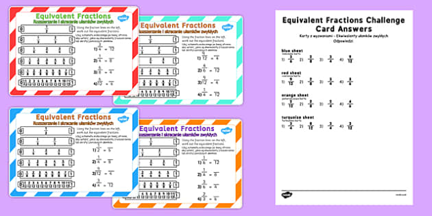 Equivalent Fractions Challenge Cards Polish Translation - polish, fraction, numeracy, maths