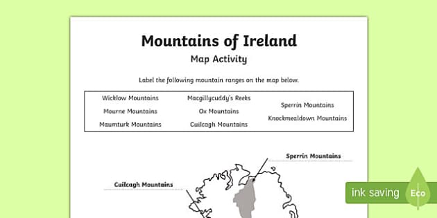 Mountains of Ireland Map Activity Sheet
