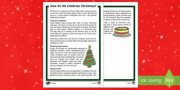 KS1 How Do We Celebrate Christmas Differentiated Fact File - Christmas, Nativity, Jesus, xmas, Xmas, Father Christmas, Santa