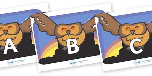 A-Z Alphabet on Owl - A-Z, A4, display, Alphabet frieze, Display letters, Letter posters, A-Z letters, Alphabet flashcards