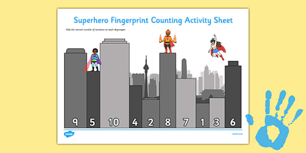 Superhero Fingerprint Counting Activity Sheet Pack - EYFS activities, number, EAD, worksheet