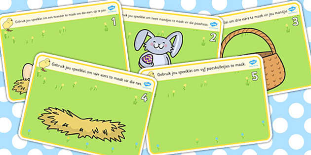 Afrikaans Easter Counting Playdough Mats 1-5 - afrikaans, easter