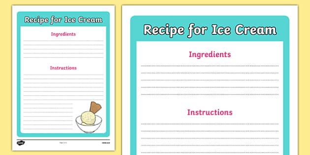 Editable Ice Cream Recipe Template - Ice cream, shop, parlour, recipe, writing template, display, ice cream shop, ice cream cafe, cone, flake, flavouring, cafe, stall, stand, banana, choc chip