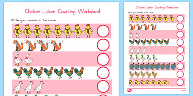 Chicken Licken Counting Sheet - australia, chicken licken, counting