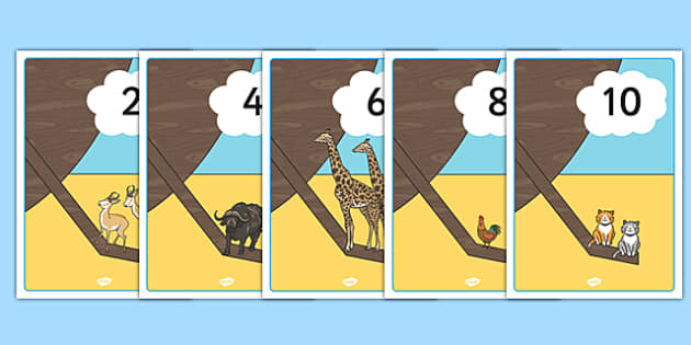 Noah's Ark Counting in 2s Display Poster - noahs ark, counting, 2s, display, poster