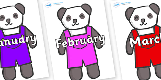 Months of the Year on Panda Bears - Months of the Year, Months poster, Months display, display, poster, frieze, Months, month, January, February, March, April, May, June, July, August, September