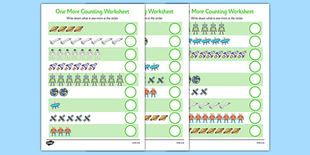 Space Themed One More Counting Worksheet - space, one more, counting, worksheet