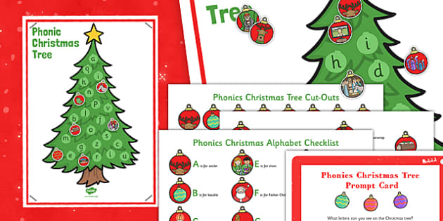 Phonic Christmas Tree Interactive Poster and Prompt Card Pack - phonic, christmas tree, poster, display