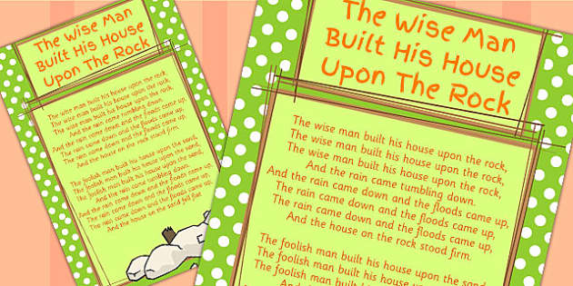 The Old Man Built His House Upon The Rock Lyrics Sheet - songs