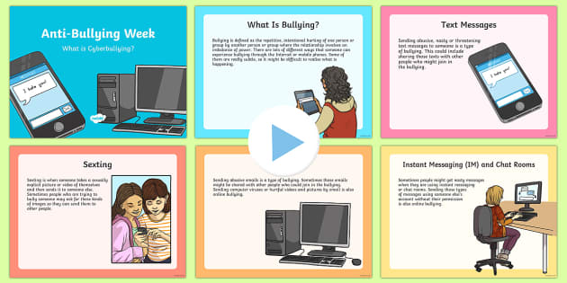 Cyberbullying PowerPoint - Priority Resources, bullying, internet, esafety, online, bully, bullies, bullies, computers, wellbei