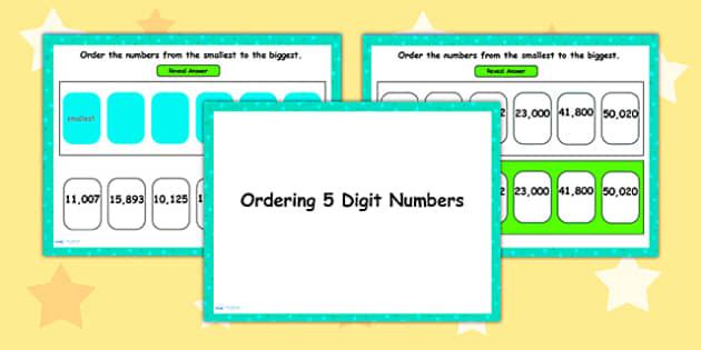 Ordering 5 Digit Numbers Flipchart - order, numbers, numeracy