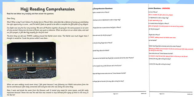 Hajj Differentiated Reading Comprehension Activity - RE