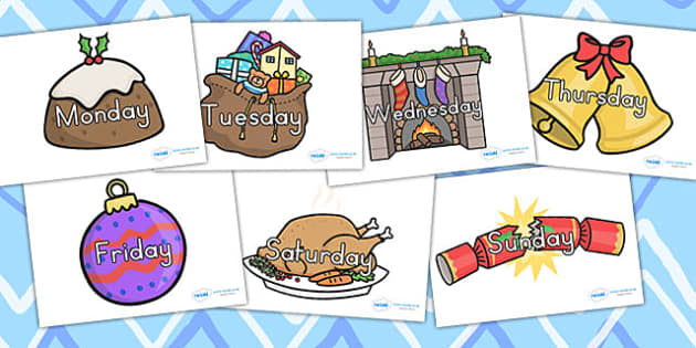 Australia Days of the Week on Christmas Images - days, weeks, christmas