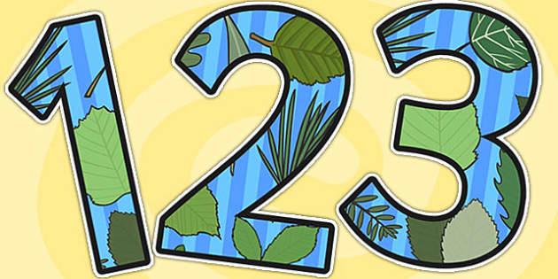 Leaf Themed A4 Display Numbers - leaf, leaves, plants, numbers
