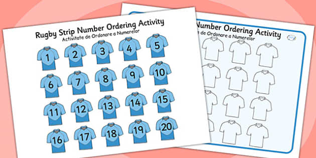 Rugby Strip Number Ordering Activity Romanian Translation - romanian