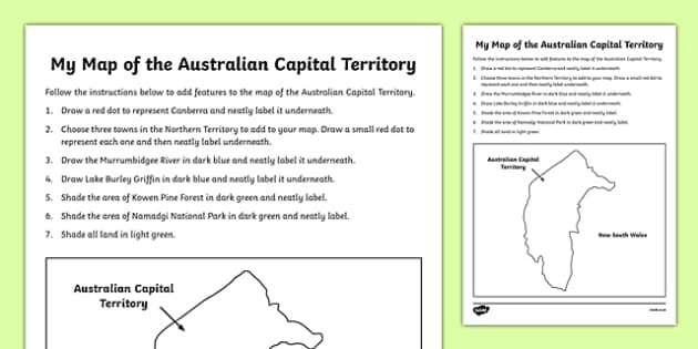 My Map of the Australian Capital Territory Activity Sheet - australia, Geography, map, mapping, Australian Capital Territory, Canberra, shading, labelling, states, territories, Australia, worksheet