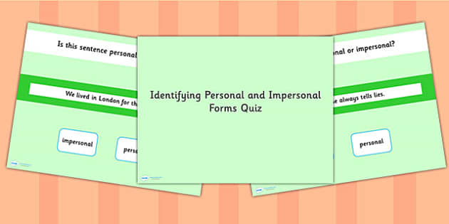 Identifying Personal and Impersonal Form SPaG Grammar PowerPoint