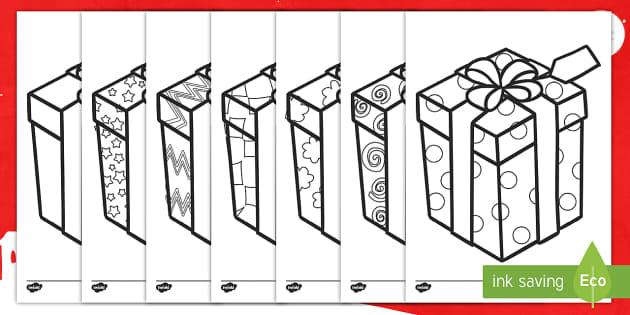 Hojas de colorear: Regalos estampados - secuencia, patron, dibujos, envolver, regalos, regalar, navidad, nadideño, navideña - secuencia, patron, dibujos, envolver, regalos, regalar, navidad, nadideño, navideña