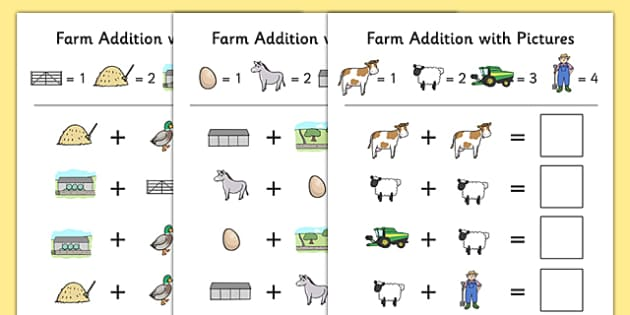 Farm Themed Addition with Pictures Activity Sheet Pack - themed, addition, pictures, activity, sheets, farm, worksheet