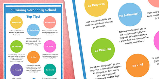 Top Tips for Surviving Secondary School - transition, moving on