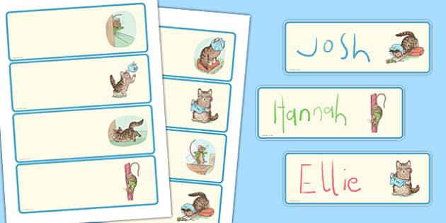 The Story of Miss Moppet Editable Drawer Peg Name Labels - Beatrix Potter, kitten, cat