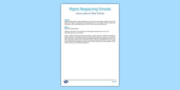Rights Respecting Schools Activity Ideas - CfE, Health and Wellbeing, PSHE, Rights Respecting Schools, UN Charter Rights of the Child, Children's Rights, Responsibilities, curriculum, excellence, scotland, scottish